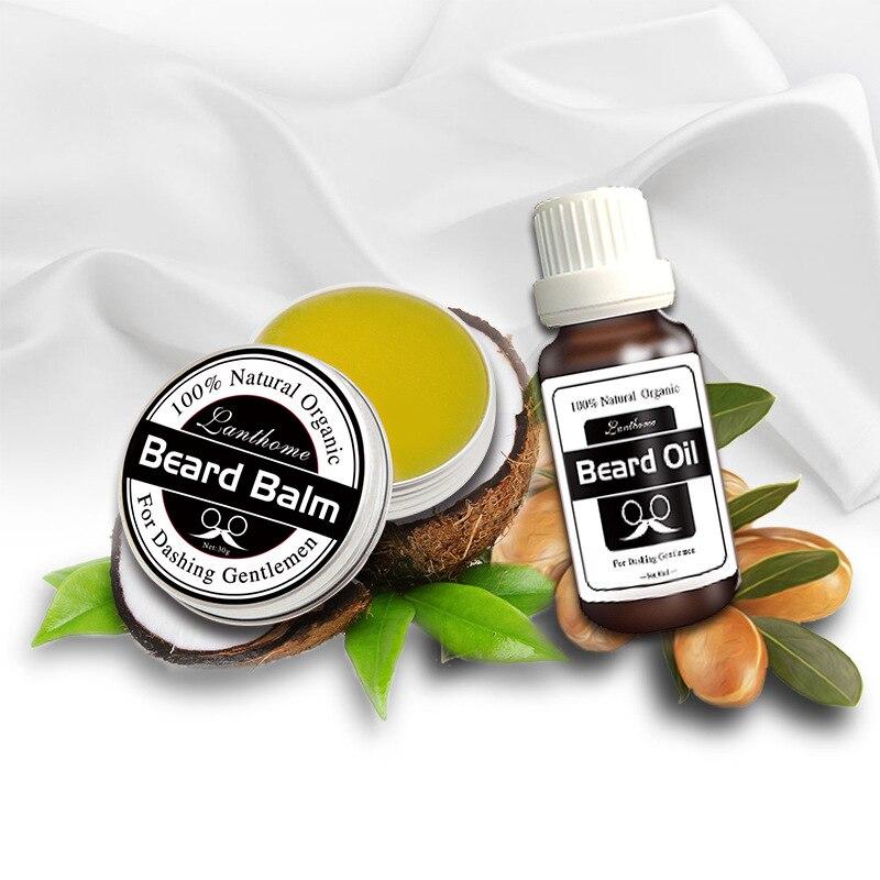 2 uds./Kit de bálsamo para Barba y aceite, potenciador de crecimiento de bigote, alisador para hombres, conjunto de regalo para el cuidado de la barba, Aceite hidratante para Barba