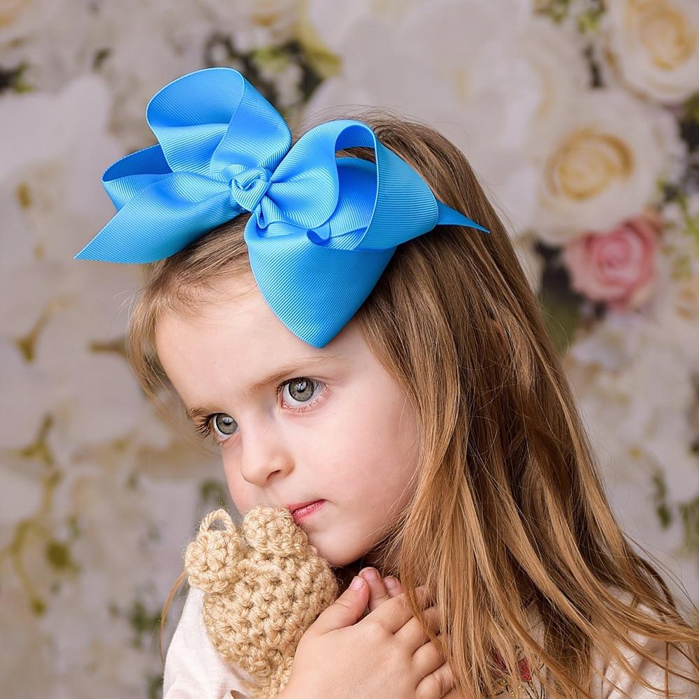 1Piece 6Inch Big Baby Hair Bows For Girls Hairpins Boutique Ribbon Bows Hair Clips Headwear Kids Handmade Hair Accessories