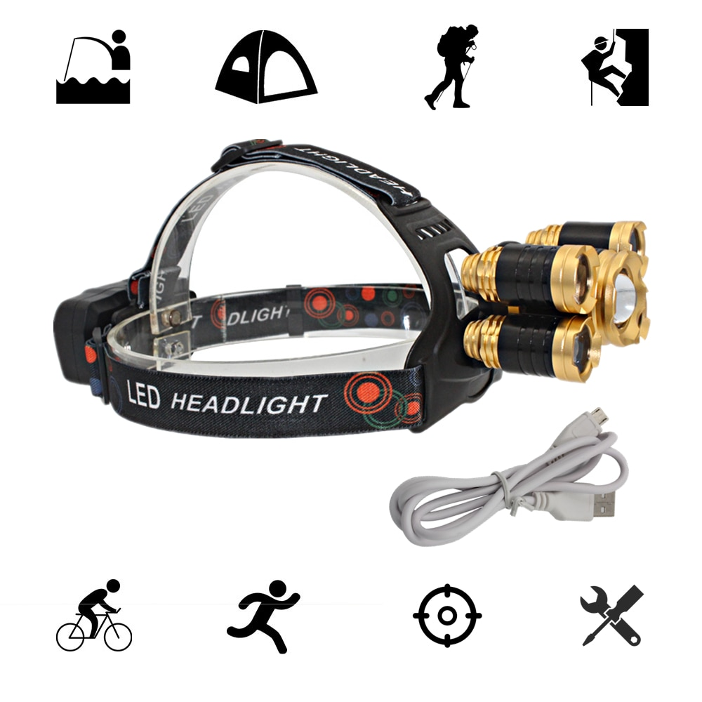 USB Rechargeable Headlamp Zoom Headlight Zoomable Head Lamp 5 LED T6 Q5 Hunting Lamp Flashlight Lanterna with USB Charger line