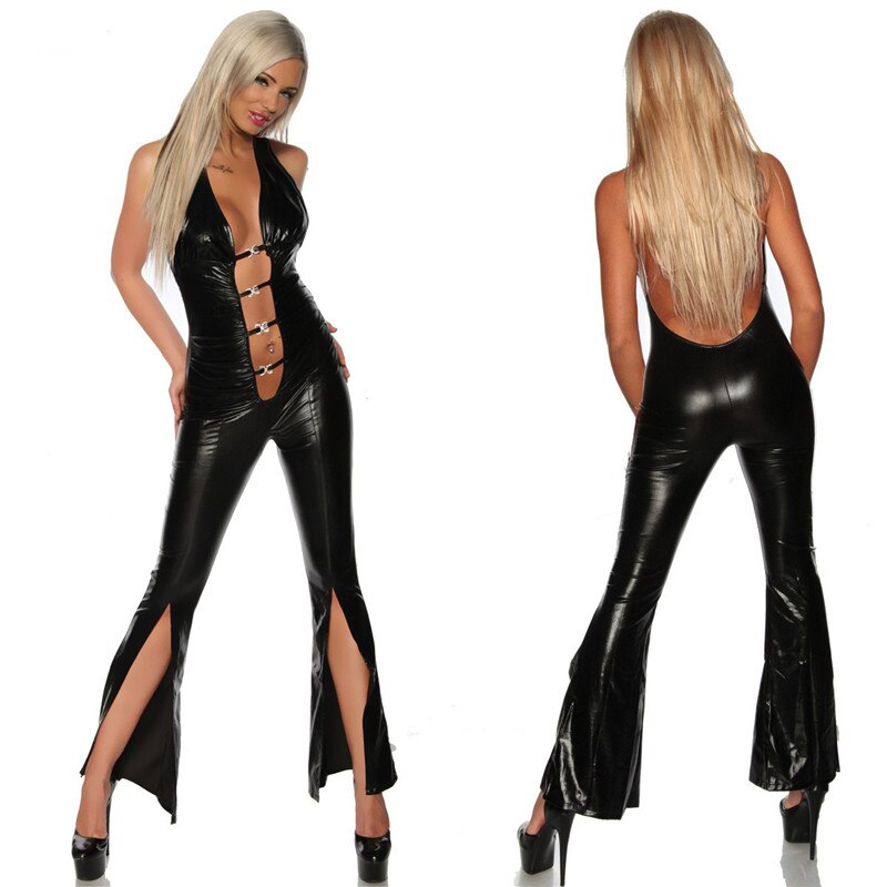 Sexy Women Faux Leather Bodysuit Hollow Out Backless Sexy Deep V Expose Navel Spaghetti Strap Romper Bodysuit Playsuit Jumpsuit hollow out faux leather watch