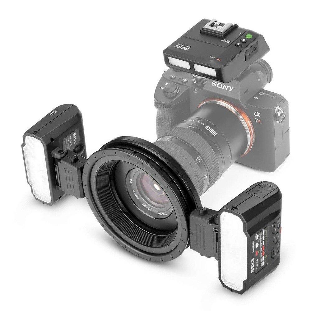 MEKE MK-MT24 ماكرو التوأم لايت flash Lite لسوني ألفا A7R A7S3 A7II A7RII A9 A7R4 A6300 A6500 المرآة