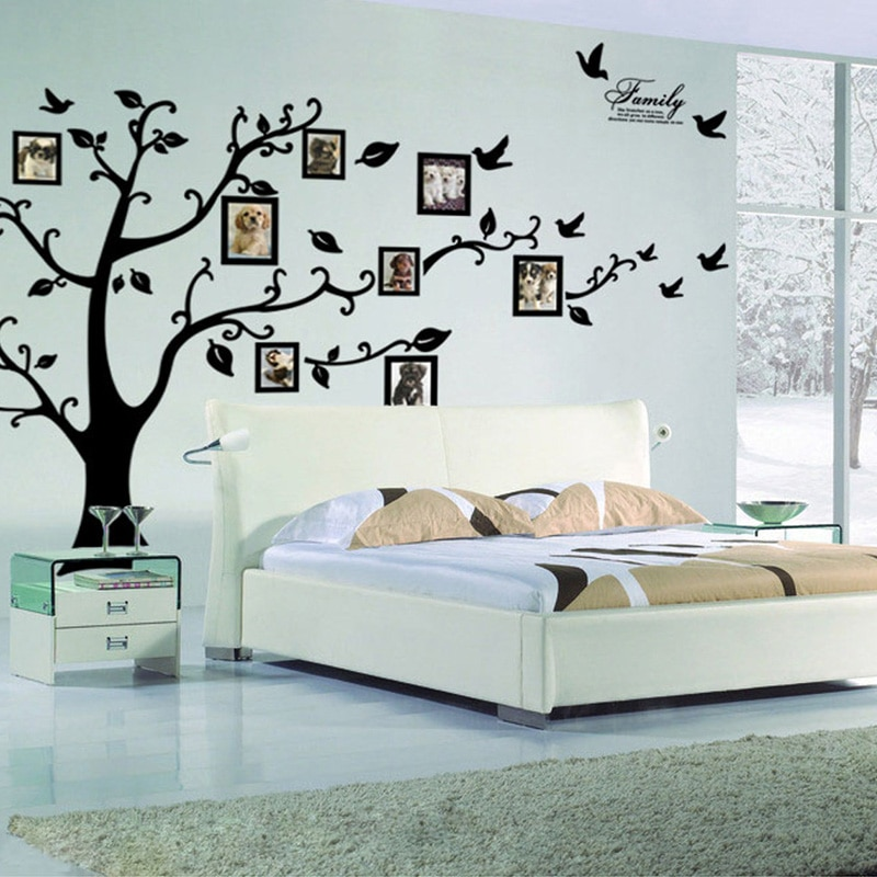 Large 250*180cm/99*71in Black 3D DIY Photo Tree PVC Wall Decals/Adhesive Family Wall Stickers Mural Art Home Decor Free Shipping broken wall 3d tree design home decor wall stickers