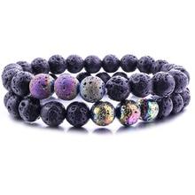 New 8mm Electroplate Lava Stone Bracelets DIY Volcano Aromatherapy Essential Oil Diffuser Chakra Bracelet Jewelry