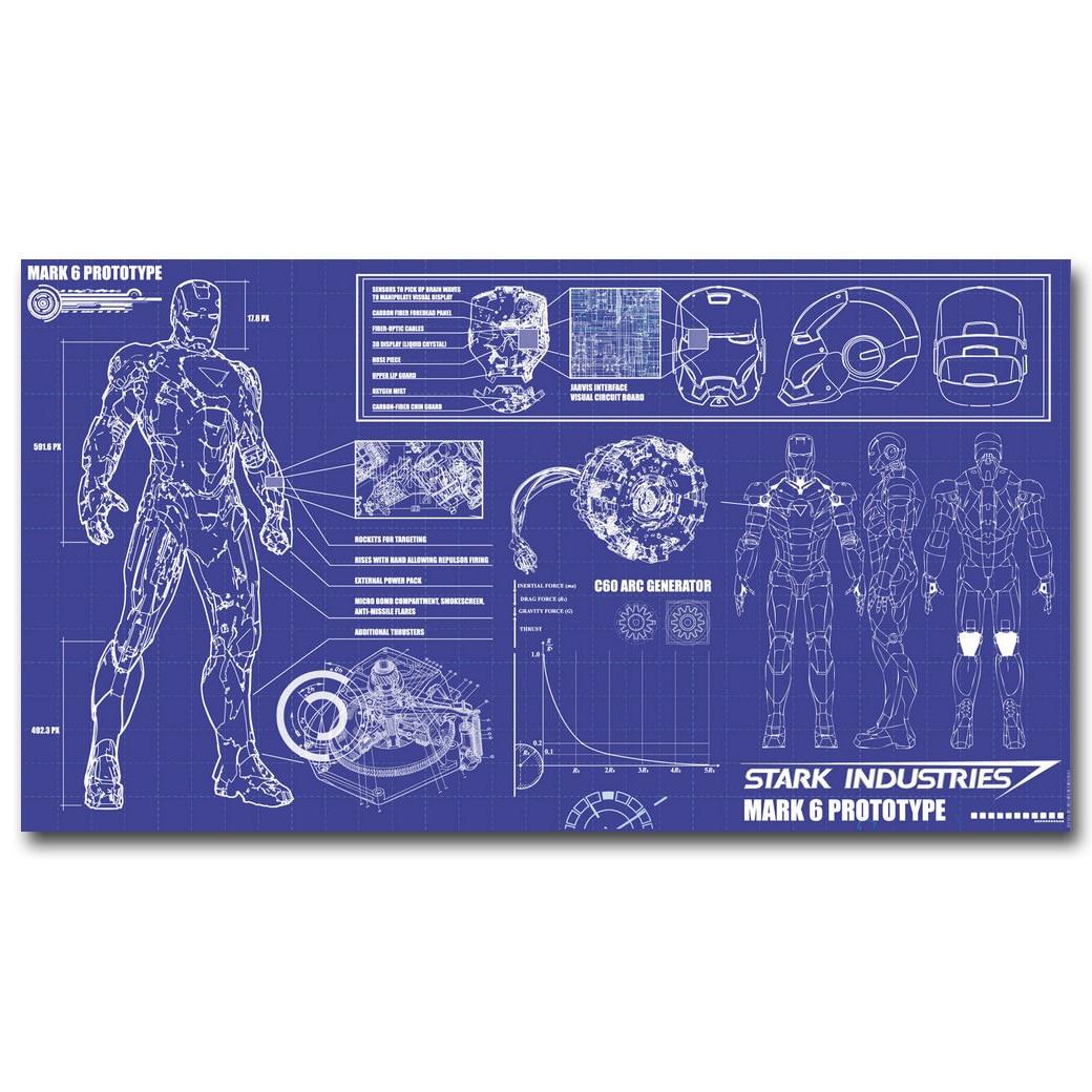 Iron Man Blueprint Superheroes Art impresión de cartel de seda 13x24 24x43 pulgadas película imágenes para decoración de pared de salón 30
