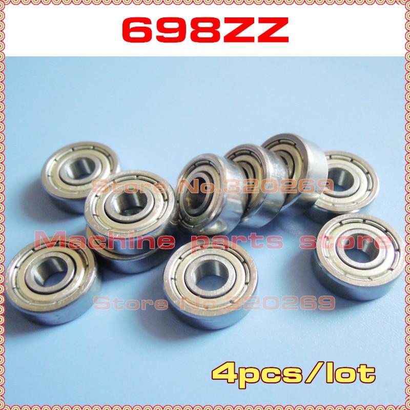 4 Uds. Eje radial 698ZZ 8*19*6 8x19x6mm escudo metálico 698Z o brida F698ZZ o 698-2RS con cojinete de bolas sellado de goma