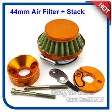 Filtre à Air de course en or et aluminium   44mm, adaptateur Vstack, Kit pour 23cc 33cc 43cc 49cc, moto à gaz