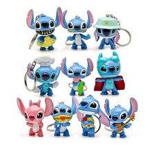 10 sztuk/partia Cartoon Lilo i Stitch breloki wisiorek pcv Action Figures zabawki dla Decoraton prezenty