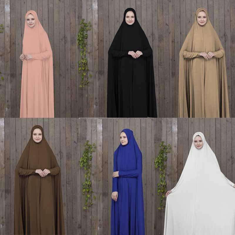 Roupa de oração preto kaftan com hijab vestes árabe mulher islâmica roupas muçulmano abaya bat robes