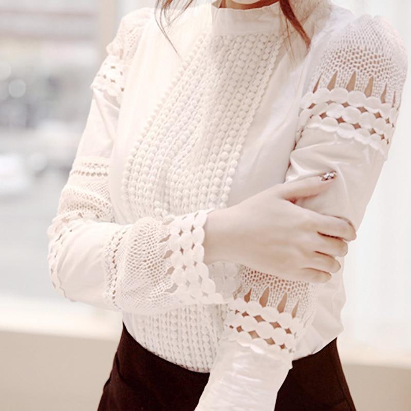 Novas blusas femininas magro de mangas compridas camisas brancas de renda gancho flor oco topos plus size S-5XL