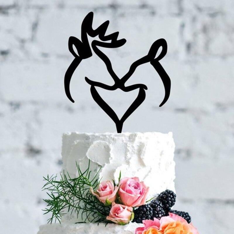 Buck y Doe corazón Topper de la torta de boda romántico ciervo de Topper de la torta de boda cazador tema Topper de la torta de boda
