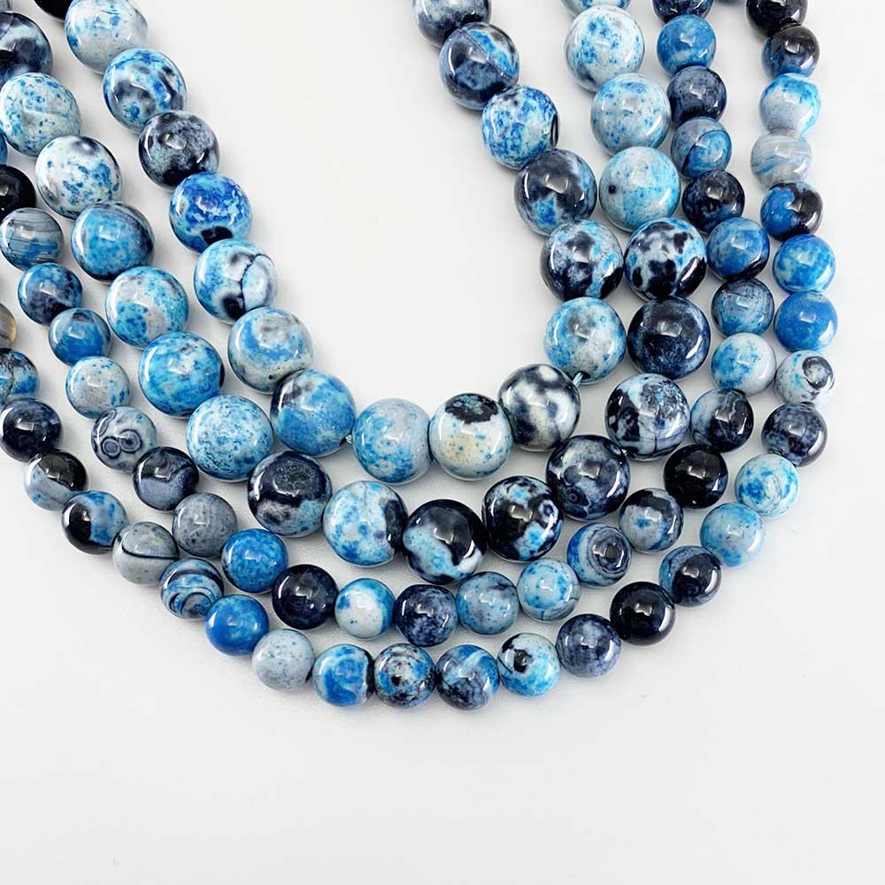 1 brin/lot 6 8 10mm naturel bleu ciel flamme Agat pierre perle ronde perles entretoises en vrac pour la fabrication de bijoux résultats Bracelet à bricoler soi-même