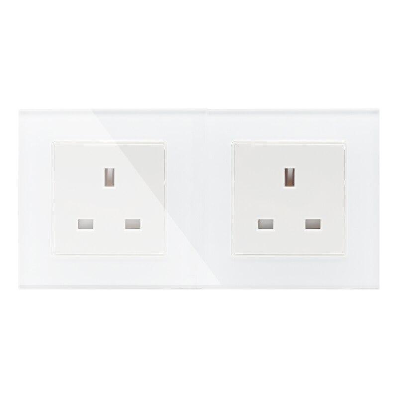 Fabricante Mobu, enchufe de pared eléctrico 13A UK 2 Gang/toma de corriente doble/enchufe, Panel de cristal, GB-C7C2UKS-11