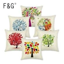 Sezon życia drzewo bawełniana pościel kolorowa dekoracyjna poszewka na poduszkę krzesło kwadratowa talia i poduszka siedziskowa okładka tekstylia domowe 45X45CM