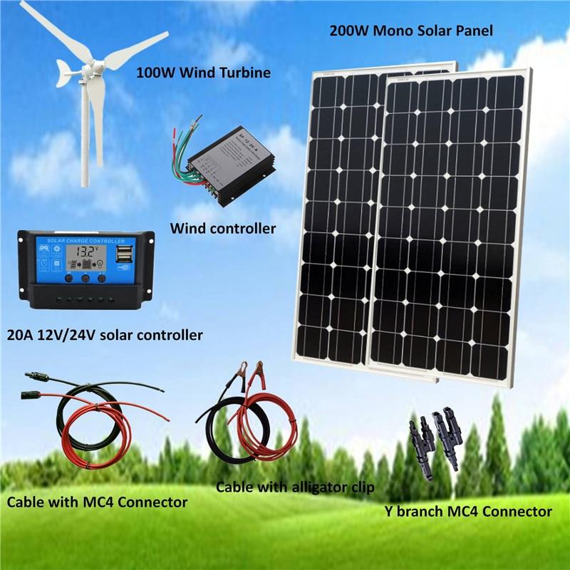 300 W/H Hybrid System Kit 100W Wind Turbine Generator & 200W monokristalline Solar Panel + Zubehör