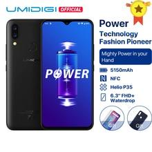 UMIDIGI Power 안드로이드 9.0 5150mAh 빅 배터리 18W 6.3 fhd + Waterdrop Screen 4GB + 64GB Helio P35 글로벌 버전 스마트 폰 16MP