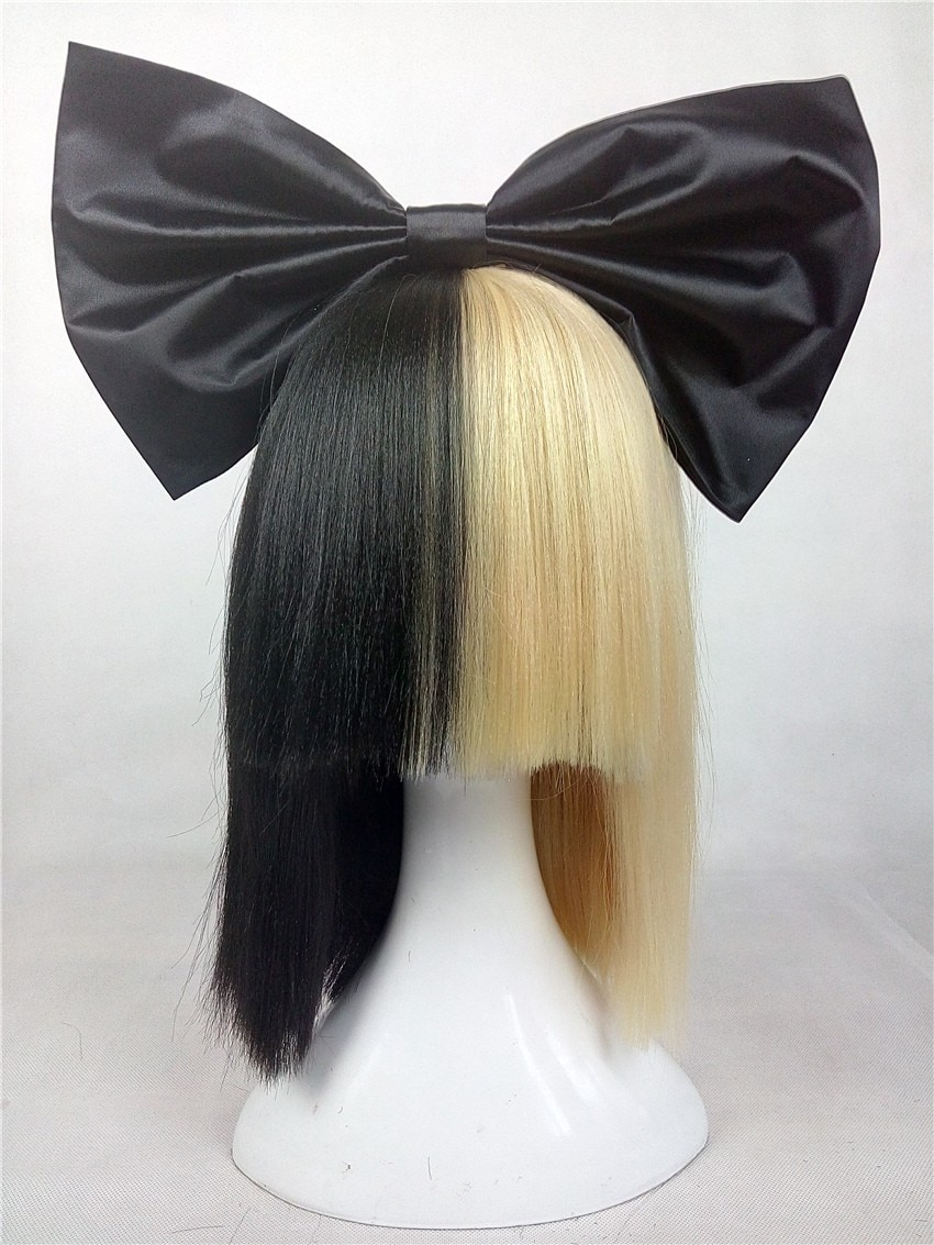 Sia Alive This Is Acting Half Black And Half Light Blonde Covers Her Eyes And Nose Heat Resistant Hair Cosplay Costume Wig