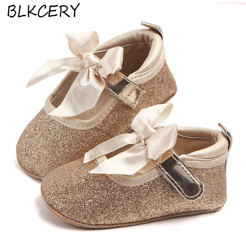 Туфли для новорожденных девочек, мягкие мокасины, обувь золотого цвета, милые модные, с бантом, для малышей, 1 год, обувь для первых шагов, Мэр...