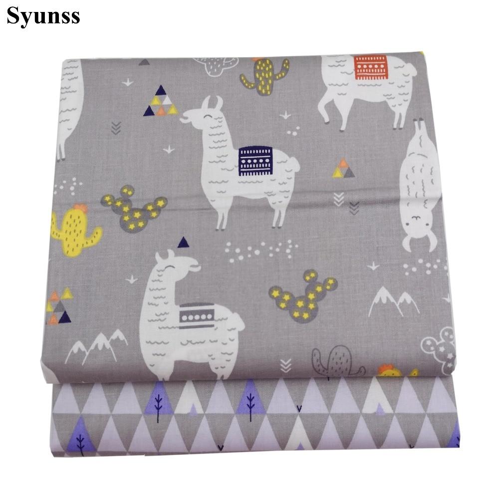Syunss Grau Alpaka Baum Drucken Twill Baumwolle Stoff DIY Handgemachte Nähen Patchwork Baby Tuch Bettwäsche Textile Quilten Tilda Tissus