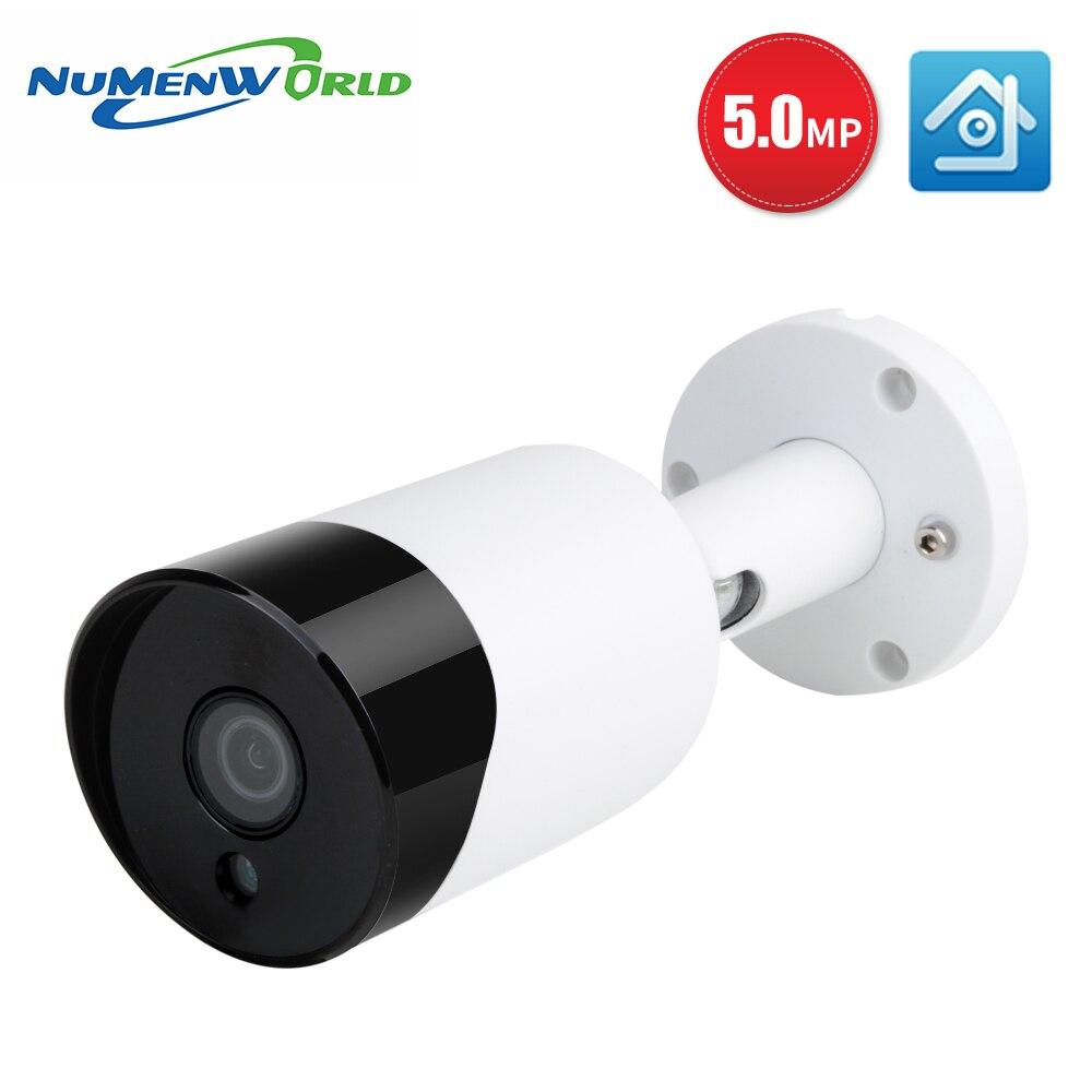 Numenworld poe câmera ip 5mp bala de áudio segurança ao ar livre câmera de vigilância cctv visão noturna vigilância vídeo h.265 +