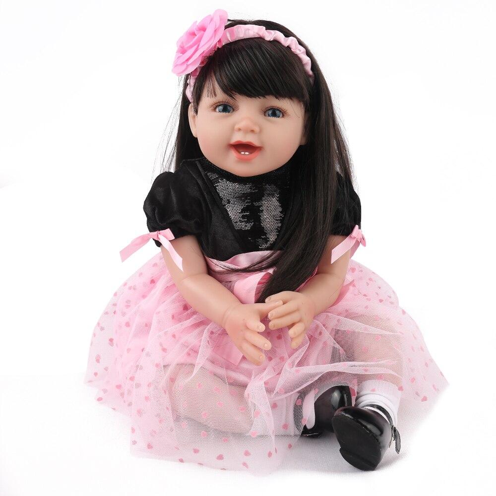 NPK PUPPE Reborn Baby Puppe Mädchen Prinzessin Rosa Kleid Schöne bebe Boneca 22 inch Lange Haare Weich silikon Kinder Playmate geschenke