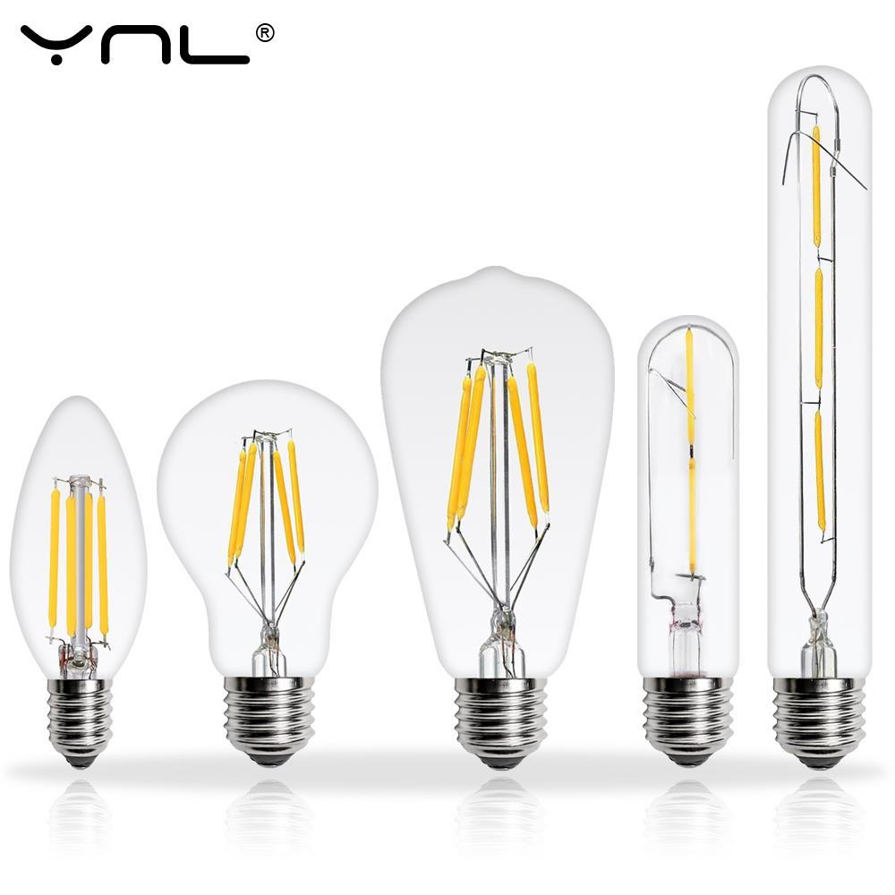 6 Teile/los Marke Antike FÜHRTE Edison-birne E27 E14 220V 2W 4W 6W 8W Lampada LED Filament Lampe Vintage Retro Kerze Glas Licht