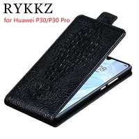 rykkz genuine leather flip up and down case cover for huawei p30 protective mobile phone stand case leather for huawei p30 pro