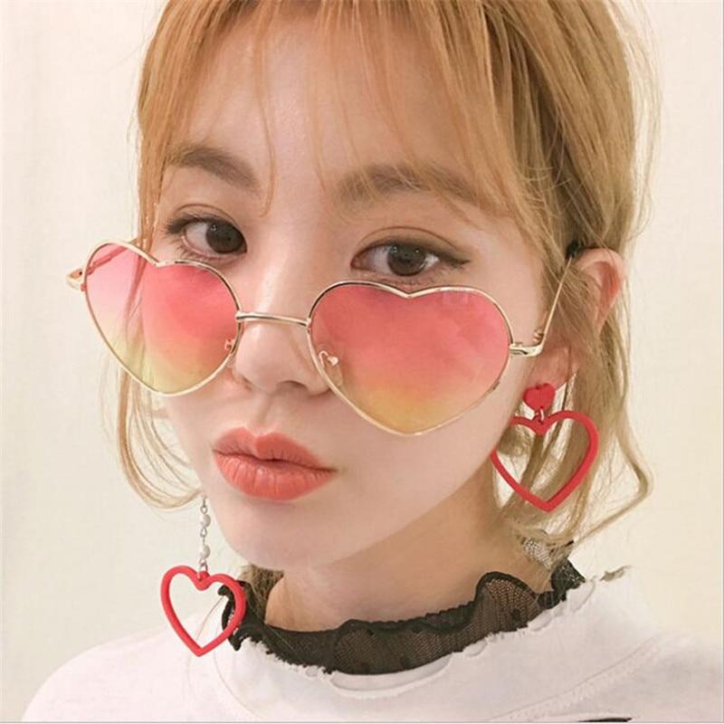 2020 New Fashion Heart Shaped Sunglasses WOMEN metal Reflective LENES Fashion sun GLASSES MEN Mirror oculos de sol