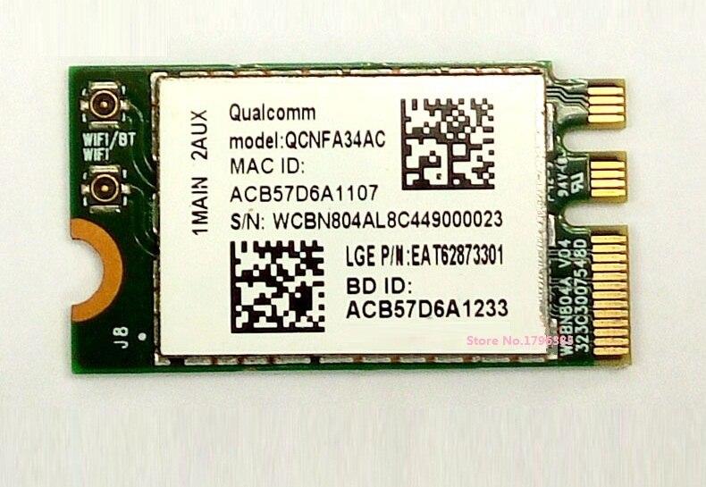 SSEA venta al por mayor nuevo para Atheros QCNFA34AC 802.11AC NGFF M.2 WiFi inalámbrico Bluetooth 4,0 tarjeta de doble banda 2,4 Ghz/5 Ghz 433Mbps