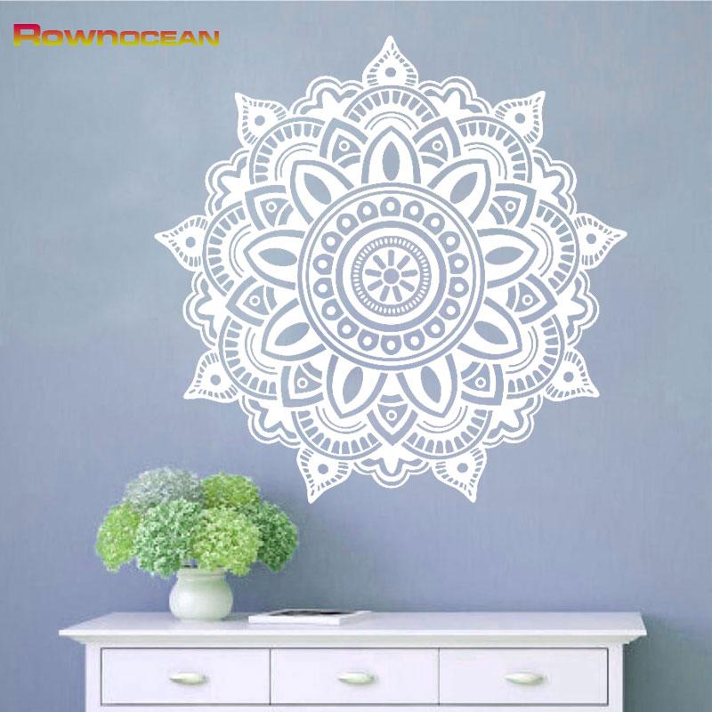 Съемные мандалы для йоги, украшения для дома, виниловые наклейки на стену, домашний декор, для гостиной, Om Symbol Mehndi Namaste, настенные наклейки MA-02