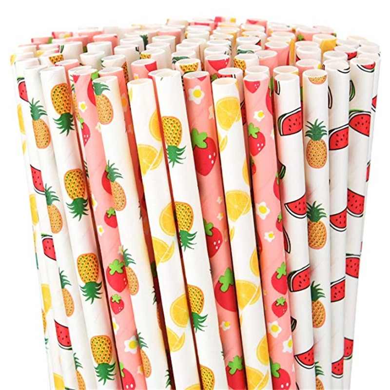 100pcs Fruit Pattern Biodegradable Paper Drinking Straws Summer Hawaiian Birthday Party Paper Straws for Wedding Party Supplies