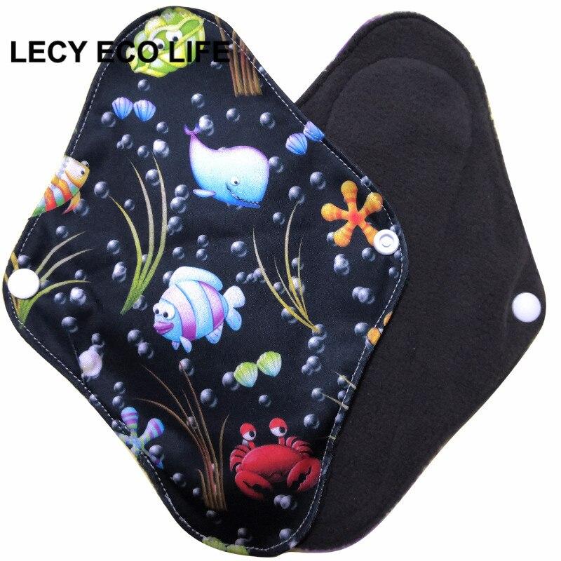 [Lecy Eco Leben] heißer verkauf waschbar panty liner mit bambus holzkohle innere, tuch Menstruations pads öffnen größe 16*22cm