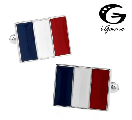 iGame French Flag Cuff Links Brass Material Free Shipping