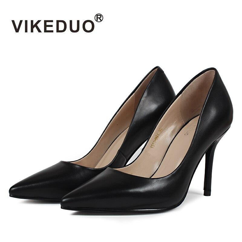 VIKEDUO-حذاء كلاسيكي أسود من جلد البقر للنساء ، حذاء رقص بإصبع مدبب ، تصميم أصلي ، حذاء بكعب عالٍ