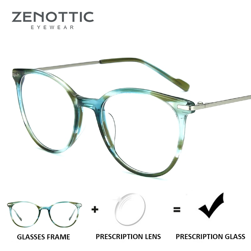 ZENOTTIC Retro Round Prescription Glasses For Women Optical Eyeglasses Myopia Hyperopia Transparent