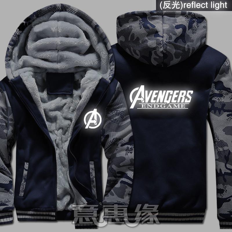 Nuevo invierno cálido vengadores 4 Endgame Quantum Realm Suit Hoodies Capitán América Abrigo con capucha Cremallera gruesa unisex chaqueta sudadera