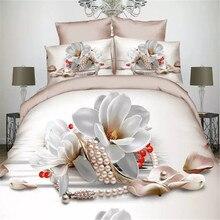 Housse de lit en coton 50% coton + 50% Polyester   Ensemble de couverture de lit de mariage pour filles, avec collier de perles florales 3D blanc huile, ensemble de 4 pièces de couette sans couette