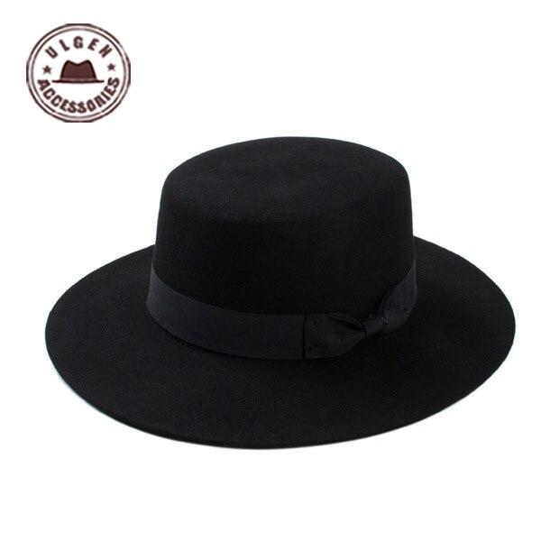 Chapeau Hot Sale Solid Adult New Fashion Vintage Wide Brim Felt Wool Bowler Hats Floppy Cloche Fedor