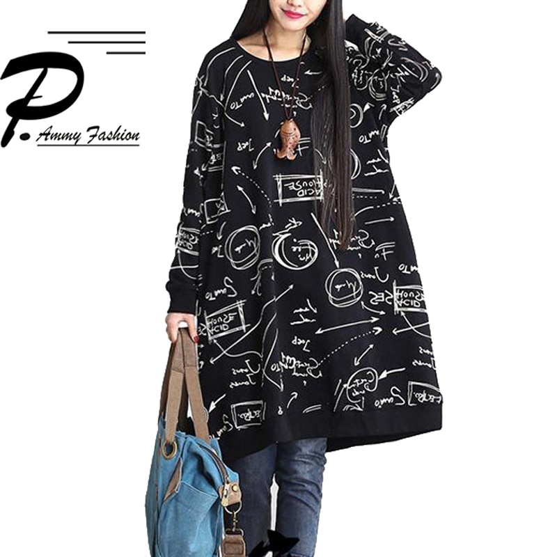 Moda de talla grande Graffiti Sudadera Mujer túnica de Jersey de gran tamaño cuello redondo de manga larga Mujer Jersey Suelto