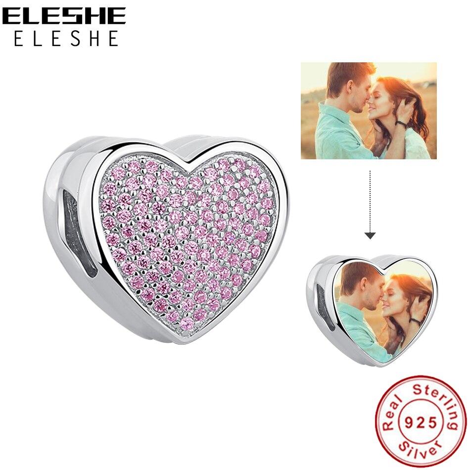 Personalisierte Foto Liebe Herz Charm Rosa Kristall 925 Sterling Silber Perle Fit Original Charme Armband DIY Schmuck