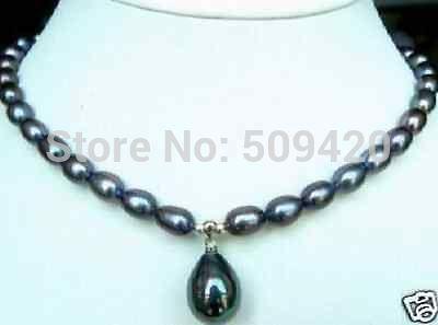 "ENVÍO LIBRE>>> caliente 7-9mm Negro Collar de Perlas Akoya Perla Shell Pendant18 ""YU 641 nuevo"