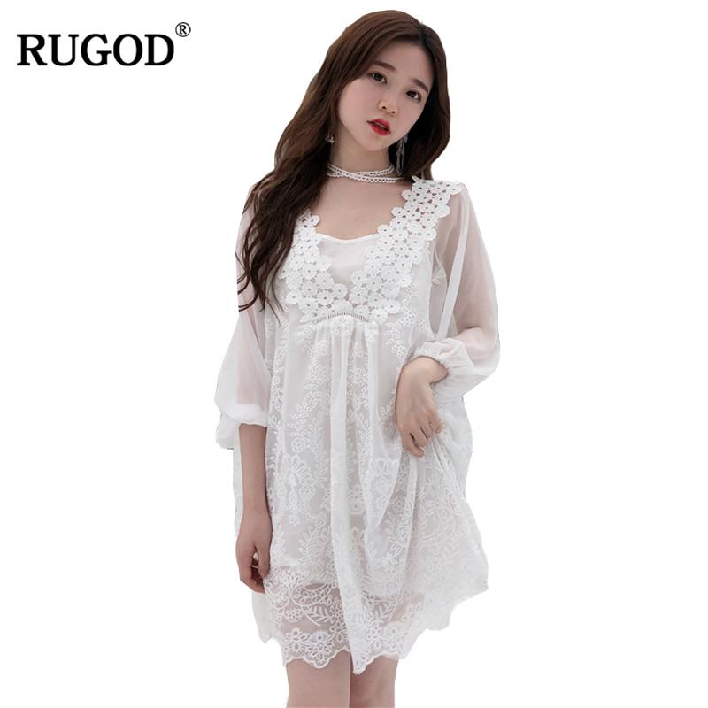 ¡Gran oferta! Vestido De chifón elegante Rugod 2019, Vestido De verano con media manga y cuello en V para mujer