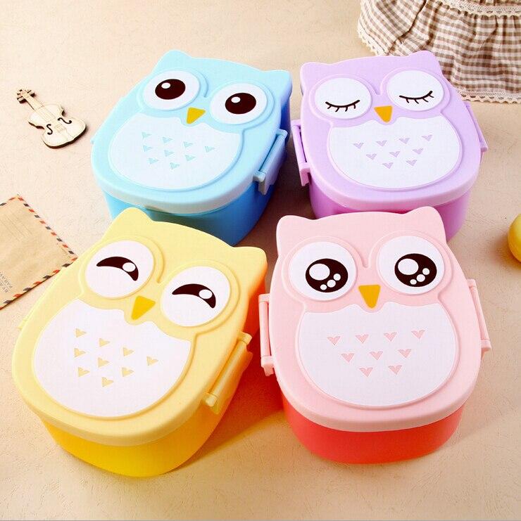Frete Grátis 1 Pc Kawaii Doces Cor Coruja Forno Microondas Caixa de Almoço Bento Container Caso Louça Presente de Aniversário das Crianças