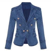 high quality new fashion 2018 designer blazer womens metal lion buttons double breasted denim blazer jacket outer coat