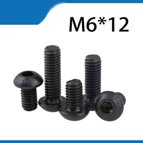 O envio gratuito de 50 pçs m6x12 mm m6 * 12 mm yuan copa metade redonda pan cabeça preto grau 10.9 aço carbono sextavado cabeça soquete parafuso