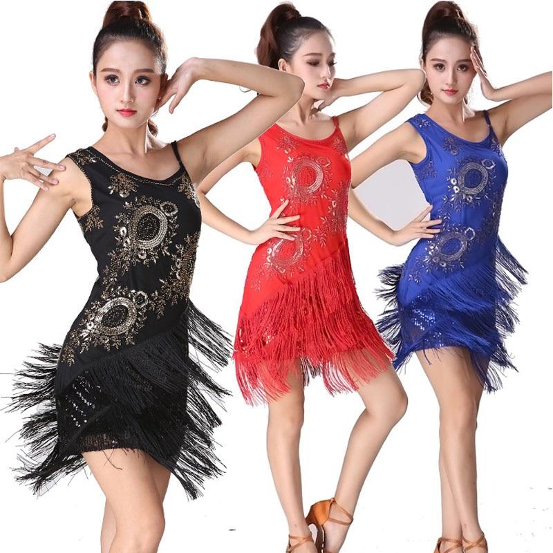 New Fashion Sexy Sleeveless Embroidery Latin Dance Tassel Dress For Women Ballroom tango Cha Cha Rumba Salsa Skirt Costumes new arrival latin dance dress diamond sleeveless lotus side lotus latin skirt for vestido de festa