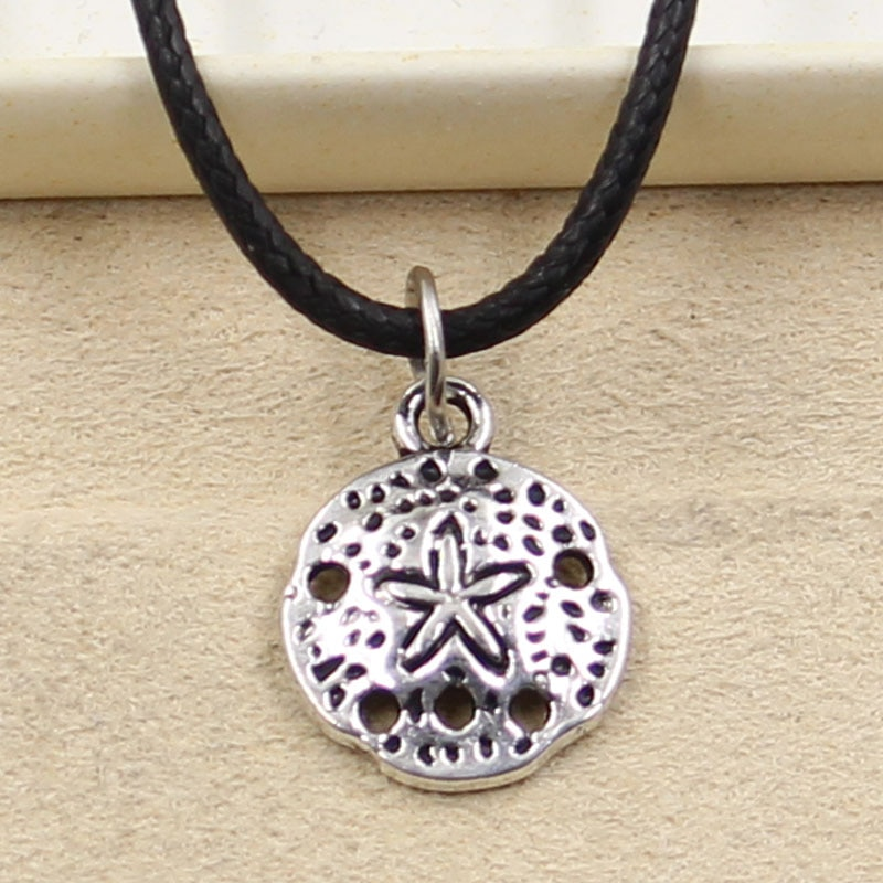 New Durable Black Faux Leather Shell Starfish Pendant Cord Choker Charm DIY Retro Boho Tibetan Silver Color Necklace Jewelry