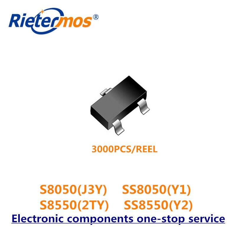 3000 Uds SOT323 S8050 8050 J3Y SS8050 Y1 PNP S8550 8550 2TY SS8550 Y2 hecho en China