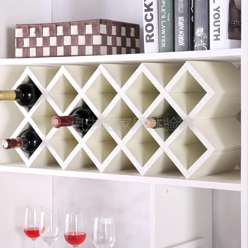 Wine rack creative wall-mounted wine rack European cabinet lattice wooden assembly wine grid home diamond wine cellar