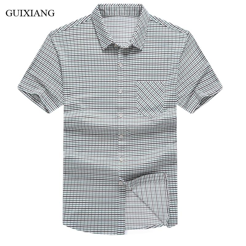جديد وصول الصيف نمط الرجال منقوشة قصيرة الأكمام قميص اللباس عالية الجودة الأعمال عارضة رقيقة قميص الذكور القطن ضئيلة قصيرة قميص
