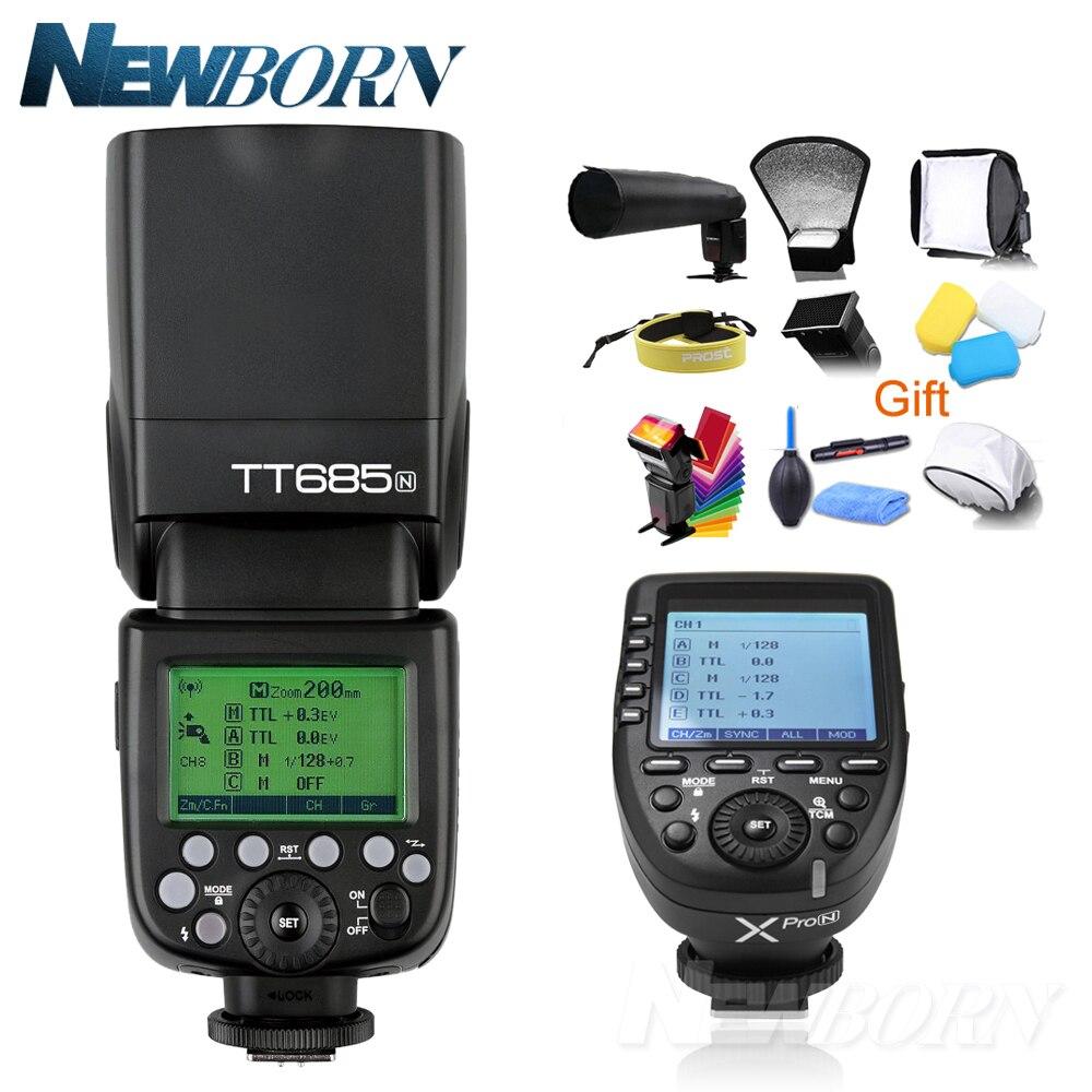فلاش كاميرا Godox TT685N TTL, فلاش كاميرا 2.4 جيجا هرتز عالية السرعة 1/8000s GN60 + Xpro-N TTL لفلاش كاميرا نيكون D7500 D850 D500 D4 + هدية